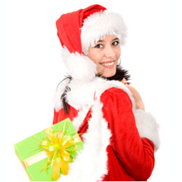 Santa girl with Christmas Gifts