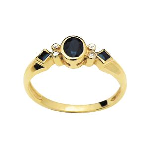 Image of Black Sapphire and Diamond Gold Ring (22635/SLG)