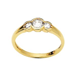 Image of Cubic Zirconia CZ Gold Ring - Trilogy (23236/CZ)