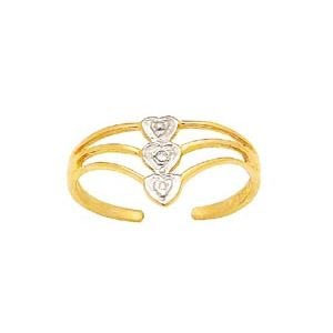 Image of Diamond Gold Toe Ring - Heart (24087)