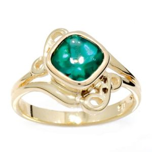 Image of Emerald Gold Ring - Buff Top (24614/GLGBF)