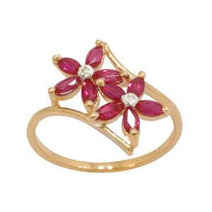 Image of Ruby and Diamond Gold Ring - Flower (24737/CR)