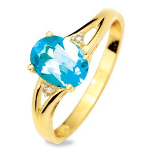 Image of Blue Topaz and Diamond Gold Ring - Solitaire (24846/BT)