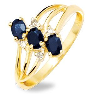 Image of Black Sapphire and Diamond Gold Ring - Trilogy (24851/SLG)