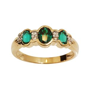 Image of Emerald and Diamond Gold Ring - 3 Stone (24914/G)