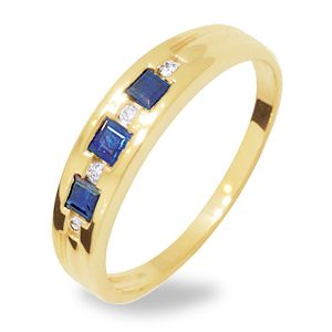 Image of Sapphire and Diamond Gold Ring - Trilogy (24932/S)