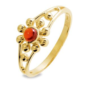 Image of Garnet Gold Ring - Flower (25063/GT)