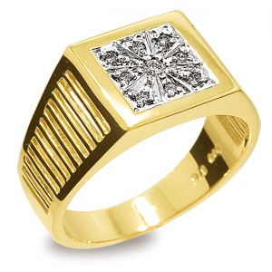 Image of Diamond Gold Ring - Men's Star Design (25128)