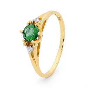 Emerald and Diamond Gold Ring - Coronet