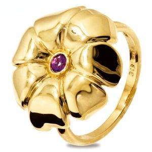 Image of Amethyst Gold Ring - Flower (25229/AM)