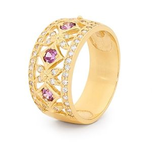 Image of Purple Cubic Zirconia CZ and Cubic Zirconia CZ Gold Ring - Baroque Sty