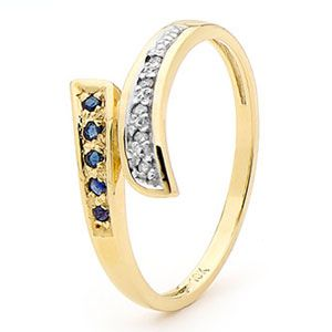 Image of Sapphire and Diamond Gold Ring - Elegant (25322/S)