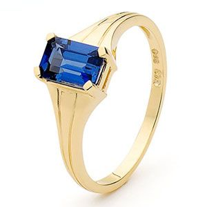 Image of Sapphire Gold Ring - Solitaire (25337/SACR)