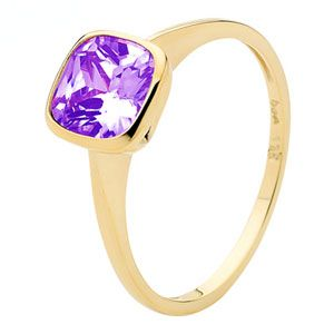 Image of Amethyst Gold Ring - Solitaire (25347/AM)
