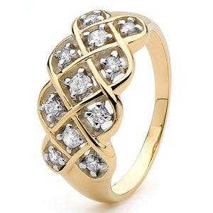 Image of Diamond Gold Ring - Dreamweaver Plait (25382)
