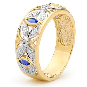 Image of Sapphire and Diamond Gold Ring - Marquise Design (25388/S)