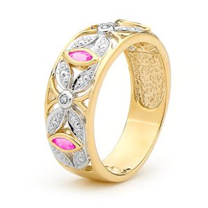 Pink Sapphire and Diamond Gold Ring