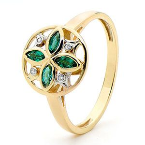 Emerald and Diamond Gold Ring - Petal