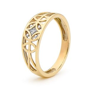 Image of Diamond Gold Ring - Circles and Petals (25440)