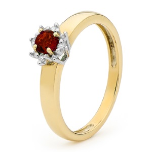 Image of Ruby and Diamond Gold Ring - Solitaire (25442/CR)