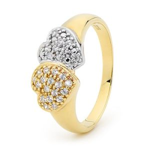 Image of Cubic Zirconia CZ 2 Tone Gold Ring - Heart Double (25454/CZ)