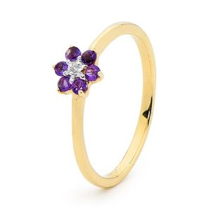 Image of Amethyst and Diamond Gold Ring - Flower Daisy (25468/AM)