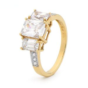 Image of Cubic Zirconia CZ Gold Ring - Trilogy Engagement (25485/CZ)