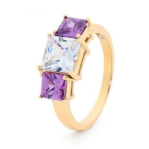 Image of Amethyst and Cubic Zirconia CZ Gold Ring - Cocktail (25486/AM)