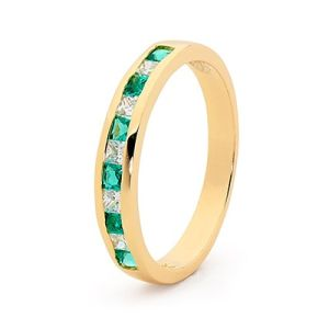 Image of Emerald and Diamond Gold Ring - Eternity Ring Band (25514/G)