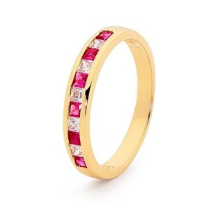 Image of Ruby and Diamond Gold Ring - Eternity Ring Band (25514/R)