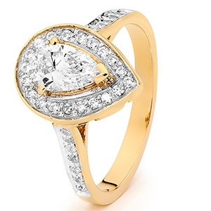 Image of Cubic Zirconia CZ Gold Ring - Pear Halo (25520/CZ)