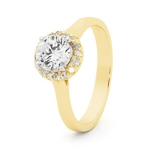 Image of Cubic Zirconia CZ Gold Ring - Halo (25521/CZ)