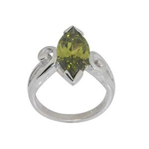 Image of Olive Cubic Zirconia CZ Silver Ring - Marquise Size N (34384/CZPT'N)
