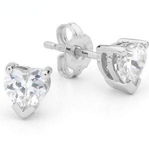Image of Cubic Zirconia CZ Silver Earrings - Heart 7x7mm (34647/CZ)