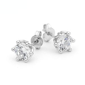 Image of Cubic Zirconia CZ Silver Earrings - Basket Setting (34732/CZ)
