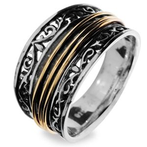 Image of Silver and Gold Ring - Size L (35089L)