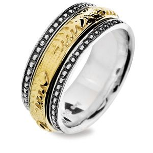 Image of Silver and Gold Ring - Fishbone - Size L (35094L)