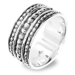 Image of Silver Ring - Beaded Bands (35101)