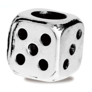 Image of Silver Charm - Lucky Dice Bead (35168)