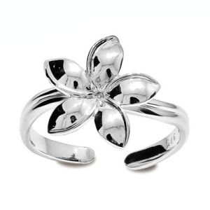 Image of Silver Toe Ring - Frangipani Flower (35277)