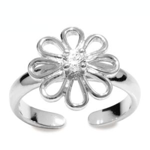 Image of Cubic Zirconia CZ Silver Toe Ring - Flower (35283/CZ)