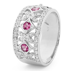 Image of Pink Cubic Zirconia CZ and Cubic Zirconia CZ Silver Ring - Baroque (35