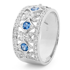 Image of Blue Spinel and Cubic Zirconia CZ Silver Ring - Baroque (35316/SPCR)