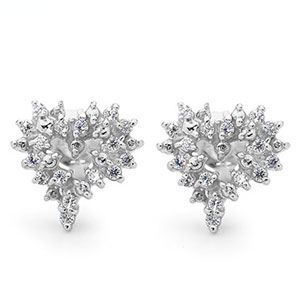 Image of Cubic Zirconia CZ Silver Earrings - Heart (35466/CZ)