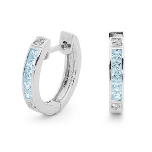 Image of Blue Topaz and Cubic Zirconia CZ Silver Earrings - Huggie (35508/BT)