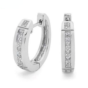 Image of Cubic Zirconia CZ Silver Earrings - Channel Set (35509/CZ)