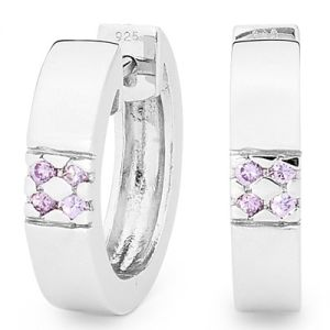 Image of Amethyst Silver Earrings - Huggie (35510/AM)