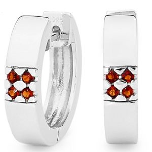 Image of Garnet Silver Earrings - Huggie (35510/GT)