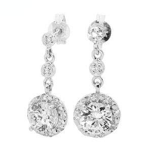 Image of Cubic Zirconia CZ Silver Earrings - Round Halo (35526/CZ)
