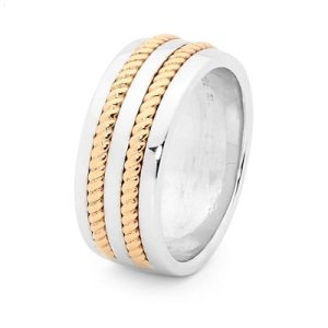 Image of 2 Tone Silver and Gold Ring - Men's Inlay (35530U)